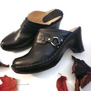 FRYE Black Charlotte Leather Clog Mules Size 8